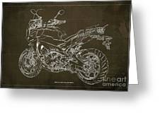 2018 Yamaha Tracer 900gt Blueprint Brown Background Two Wheels Move The Soul Greeting Card