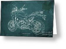 2018 Yamaha Tracer 900gt Blueprint Green Background Greeting Card
