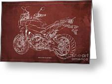 2018 Yamaha Tracer 900gt Blueprint Red Background Gift For Dad Greeting Card