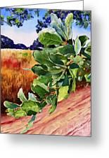 #203 Blue Oak Leaves 2 Greeting Card