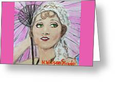 20's Glamour, Parasol Greeting Card