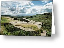 Beautiful Vibrant Landscape Image Of Burbage Edge And Rocks In S Greeting Card