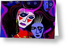 215   Mother And Child  Clowns A  Greeting Card