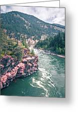 Kootenai River Water Falls In Montana Mountains Greeting Card
