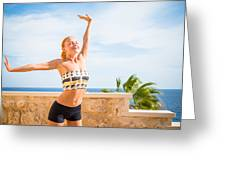Beautiful Woman Practicing Yoga Greeting Card