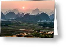 Karst Mountains Scenery In Sunset Greeting Card