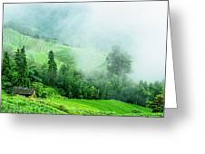 Mountain Scenery In The Mist Greeting Card