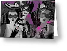 2616 Ladies Masks Man Weapons 2018 Greeting Card