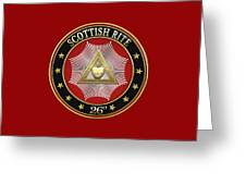 26th Degree - Prince Of Mercy Or Scottish Trinitarian Jewel On Red Leather Greeting Card