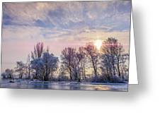 Frozen Water, Snow And Ice On The Dnieper River Greeting Card