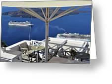 28 September 2016 Restaurant By The Aegean Sea  In Santorini, Greece  Greeting Card