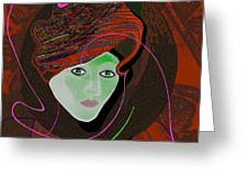 289 - Anna  With  Dark Red Cap Greeting Card