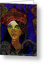 299 - Woman With Red Hat   Greeting Card