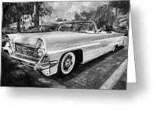 1959 Lincoln Continental Town Car Mk Iv Painted Bw   Greeting Card