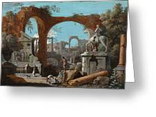 A Capriccio Of Roman Ruins Greeting Card