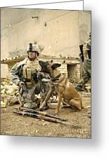 A Dog Handler And His Military Working Greeting Card