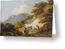A Mother And Child Watching Workman In A Quarry Greeting Card