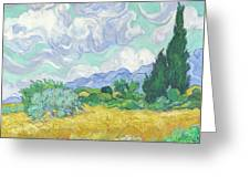 A Wheatfield With Cypresses Greeting Card