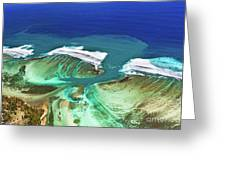 Aerial View Of The Underwater Channel. Mauritius Greeting Card