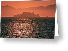 Alcatraz Island Prison San Francisco Bay At Sunset Greeting Card