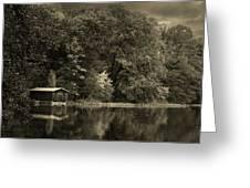 Autumn Lake Boathouse Greeting Card