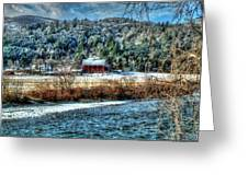 Vermont Farm By The River Greeting Card