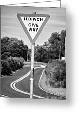 Bilingual English And Welsh Give Way Sign Anglesey Wales Uk Greeting Card