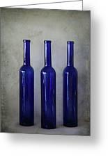 3 Blue Bottles Greeting Card