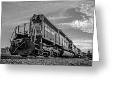 Blue Freight Train Engine At Sunrise  Greeting Card