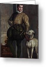 Boy With A Greyhound Greeting Card