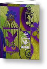 3 Caged Birds Greeting Card
