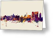 Calcutta Kolkata India Skyline Greeting Card