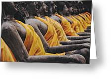 Carved Stone Buddha Statue Wat Temple Complex In Old Siam Kingdom Ayutthaya Thailand Greeting Card