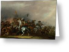 Cavalry Attacked By Infantry Greeting Card