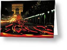 Champs Elysee At Night Greeting Card