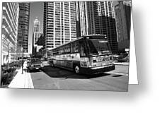 Chicago Bus And Buildings Greeting Card
