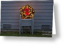 Christmas Wreath On Lawn Chairs Greeting Card