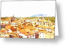 Cityscape With Mountain Greeting Card