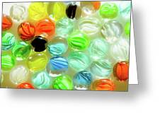 Colored Glass Beads On White Background Greeting Card