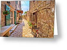 Colorful Mediterranean Stone Street Of Prvic Island Greeting Card