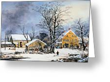 Currier & Ives Winter Scene Greeting Card