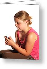 Diabetic Child With Blood Glucose Tester Greeting Card