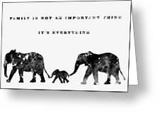Elephant Family-black Greeting Card