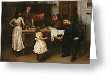 Family Scene In A Kitchen Greeting Card