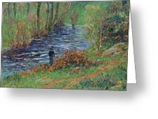 Fisher On The Bank Of The River Greeting Card