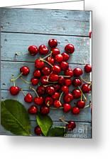 Fresh Cherries On Wood Greeting Card