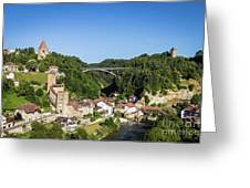 Fribourg Old Town In Switzerland Greeting Card