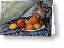 Fruit And A Jug On A Table Greeting Card