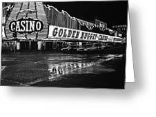 Golden Nugget Casino At Night In The Rain Las Vegas Nevada 1979 Greeting Card