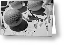 3 Golf Balls Enter Art Competition Greeting Card